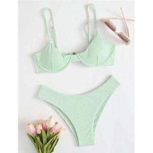 Shein Mint Green Ribbed Underwire High Leg Bikini